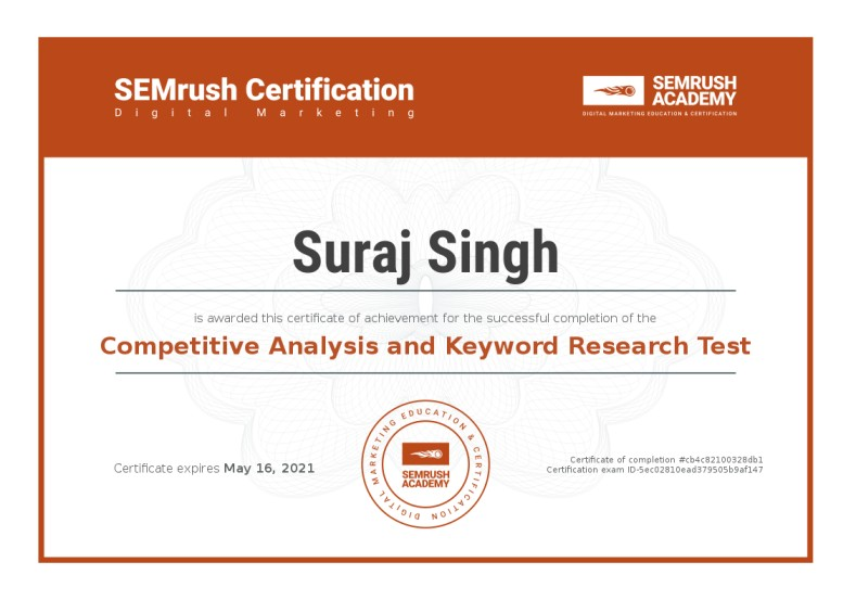 Suraj Rana Certificate Competitive Analysis And Keyword Research Test