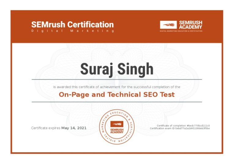 Suraj Rana Certificate On-page And Technical SEO Test