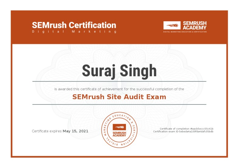 Suraj Rana Certificate Semrush Site Audit Exam