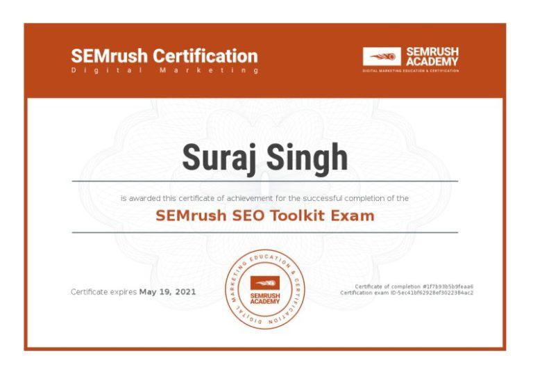 Suraj Rana Certificate SEO Toolkit Exam
