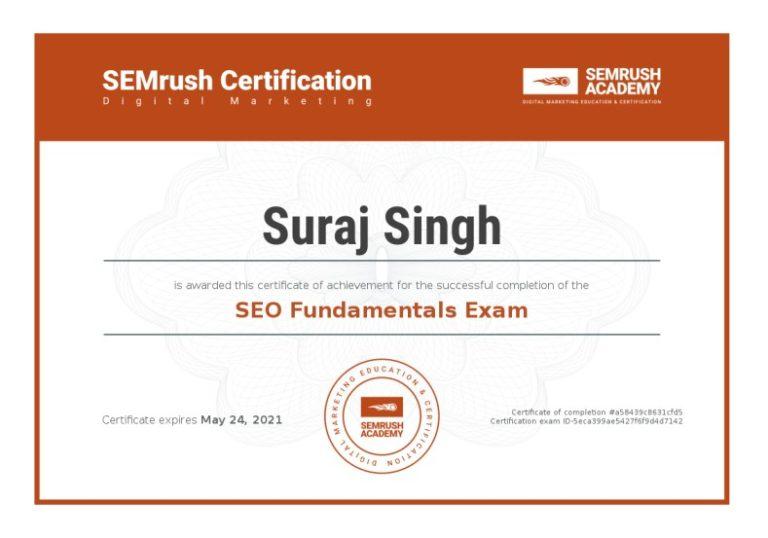 Suraj Rana Certificate-seo-fundamentals-exam