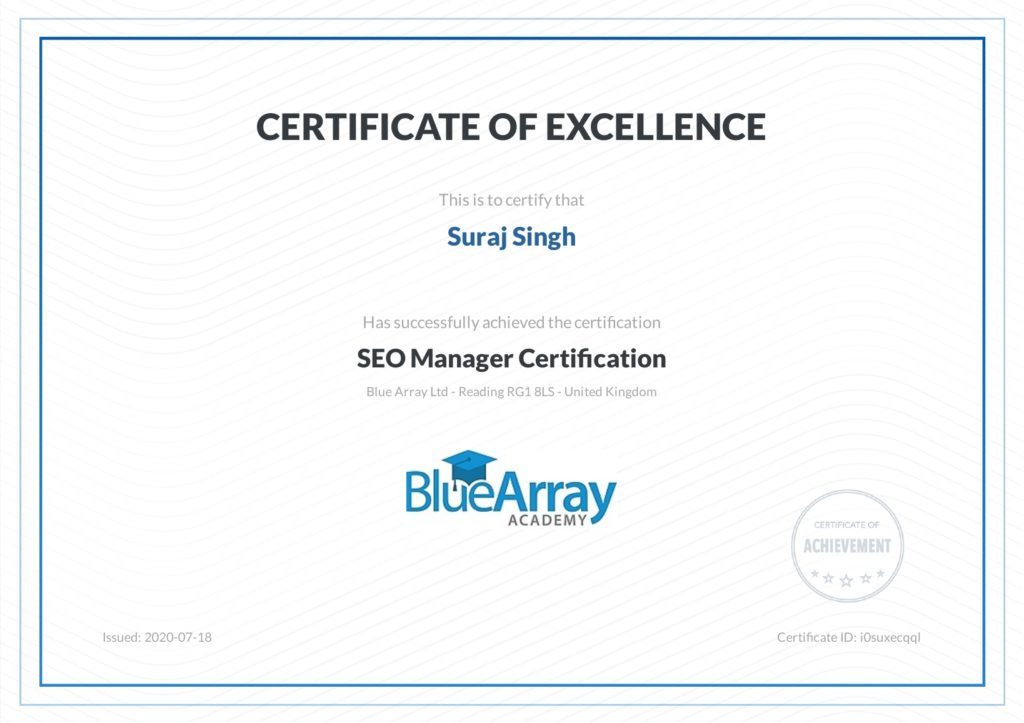Suraj Rana SEO Manager Certitcation From Blue Array SEO